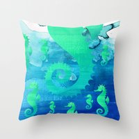 seahorse Throw Pillows featuring Seahorse by Sara Eshak
