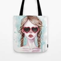 lolita Tote Bags featuring Lolita by Black Fury