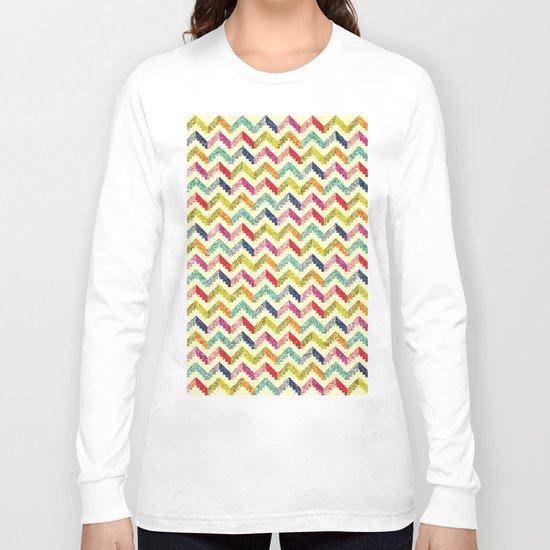 Chevron Multi Color Zigzag Pattern Long Sleeve T-shirt