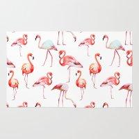 flamingo Area & Throw Rugs featuring flamingo by Ceren Aksu Dikenci