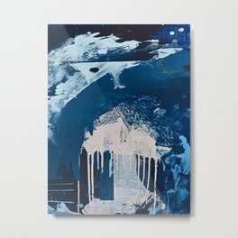 Solstice [3]: a minimal abstract mixed-media piece in blue and white by Alyssa Hamilton Art Metal Print