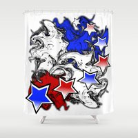 american Shower Curtains featuring AMERICAN  by Robleedesigns