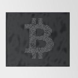 Bitcoin Binary Black Throw Blanket