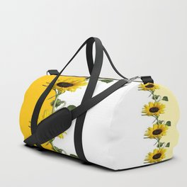VERTICULAR YELLOW SUNFLOWERS WHITE ART Duffle Bag