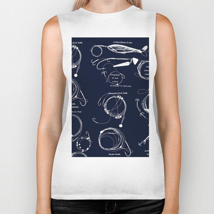 Maritime pattern- white fishing gear on darkblue background Biker Tank