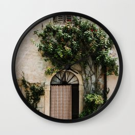 Door with plants in Lazise | Travel photography Italy | Fine art photo print | Wall Clock