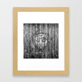 Autobot Monochrome Wood Texture Framed Art Print