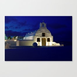 Santorini Chapel During Sunrise  Canvas Print