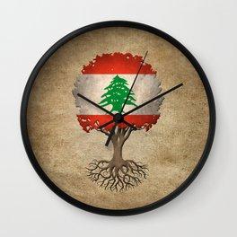 Vintage Tree of Life with Flag of Lebanon Wall Clock