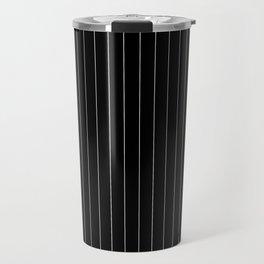 Black And White Pinstripes Lines Stripes Minimalist Stripe Line Travel Mug