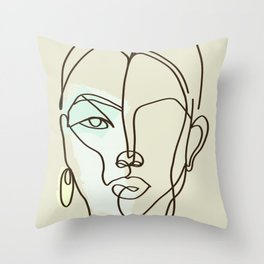 Strong Girl With Earring Throw Pillow