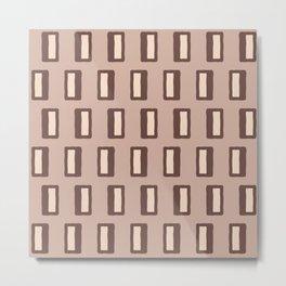 Chad Pattern Brown and Beige Metal Print