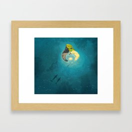 Puffin Rock - Whale family Framed Art Print