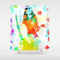 jack sparrow Shower Curtains featuring Water Sparrow by Kramcox