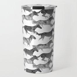 Running Watercolor Horses Ink Black Travel Mug