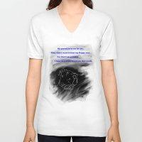 pitbull V-neck T-shirts featuring Pitbull Respect by DraconianBriana
