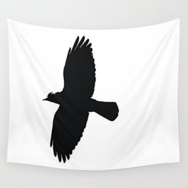 Jackdaw In Flight Silhouette Wall Tapestry