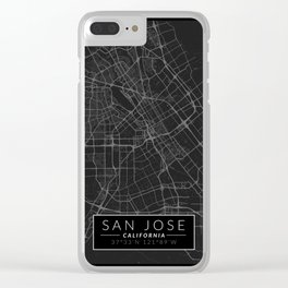 San Jose Map - Black and White (Dark) Clear iPhone Case