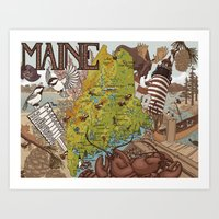 maine Art Prints featuring MAINE by Jada Fitch