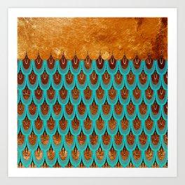 Copper Metal Foil and Aqua Mermaid Scales - Beautiful Abstract glitter pattern Art Print
