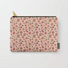 Poppies Hand-Painted Watercolors in Rose Pink on Pale Pink Carry-All Pouch