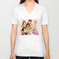 lady V-neck T-shirts featuring Smile for the Camera by Brianna