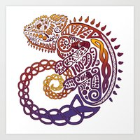 Celtic Chameleon Art Print