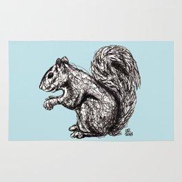 Blue Woodland Creatures - Squirrel Rug