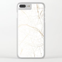 Paris Gold and White Street Map Clear iPhone Case