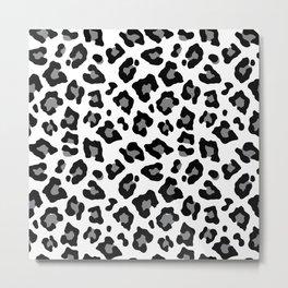 Black and White Leopard Spots Animal Print Metal Print