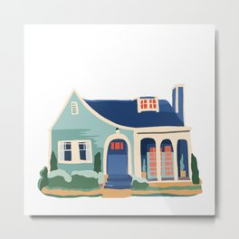 Teal and Blue Cottage - Tiny House, Arched Doorway Metal Print