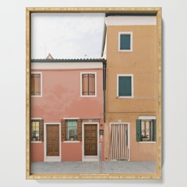 Coral Pink and Mustard Yellow Houses in Burano | Venice Colorful Pastel House Photography | Italy Serving Tray