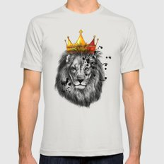 lion king X-LARGE Mens Fitted Tee Silver