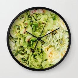 Green Flowers Wall Clock