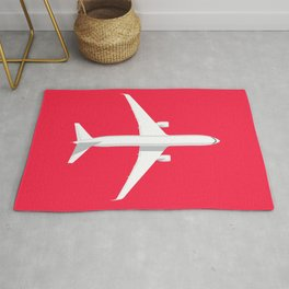 767 Passenger Jet Aircraft - Crimson Rug