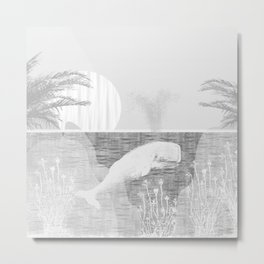 Tropical Black and White Vintage Whale Design Metal Print