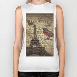 I love Paris Shabby chic Robin French Scripts Jubilee Crown Vintage Paris Eiffel Tower Biker Tank