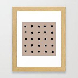 Polka Strokes Gapped - Black on Nude Framed Art Print
