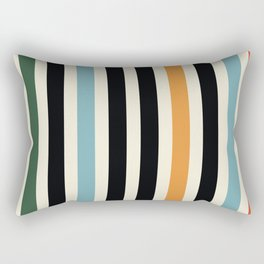 Raincore - Mid Century Modern Rainbow Retro Lines Abstract Pattern - Blue Yellow Green Red Black Rectangular Pillow