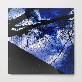 Urban maple tree in a winter evening with a city building and a cloudy sky Metal Print