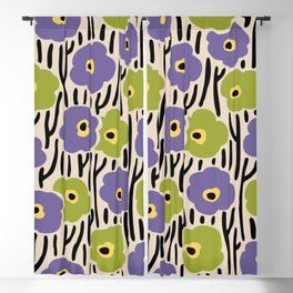 Mid Century Modern Wild Flowers Pattern Purple and Green Blackout Curtain