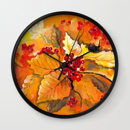 Autumn / Fall Painting - Berries and Changing Leaves Art Wall Clock
