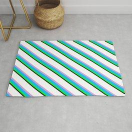 Vibrant White, Plum, Deep Sky Blue, Lime & Black Colored Stripes Pattern Rug