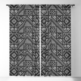 Stamped Geometric - Coal Blackout Curtain