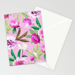 Pink Flowers And Lilac Pansies Floral Pattern Stationery Cards