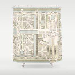 Dutch Antique Garden Plan in Pastels Shower Curtain