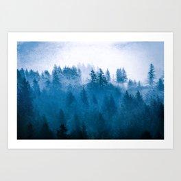 Blue Winter Day Foggy Trees Art Print