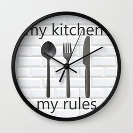 kitchen rules art print modern farmhouse Wall Clock
