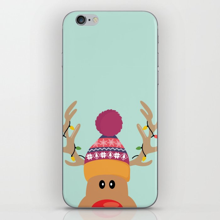 Rudolph Red Nosed Reindeer is looking at you iPhone Skin