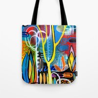 mid century modern Tote Bags featuring Mid Century Modern Landscape by Madara Mason Studio
